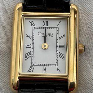 VTG Caravelle by Bulova Gold Watch w/Black band